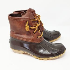 Sperry Leather Rubber Saltwater Rain brown Boots 3